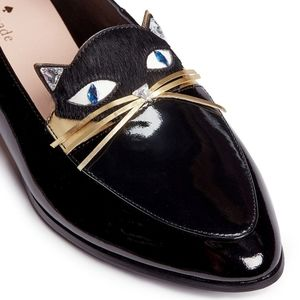 KATE SPADECECILIA' CALFHAIR CAT FACE PATENT LEATHER LOAFERS 6